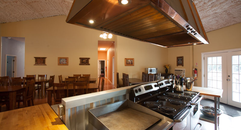 Commercial Kitchen and dining hall in Lodge of Lotus Ranch Retreat Center in The Texas Hill Country.