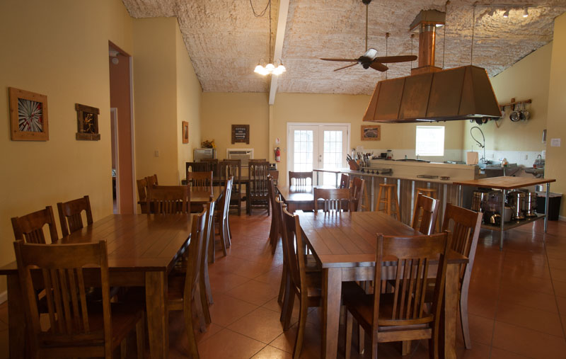 Dining Hall of Lotus Ranch Retreat Center in Wimberley, TX.