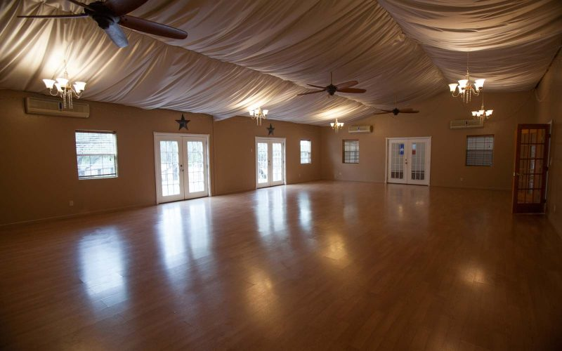 Event Hall of Retreat Space at Lotus Ranch in Wimberley Texas.