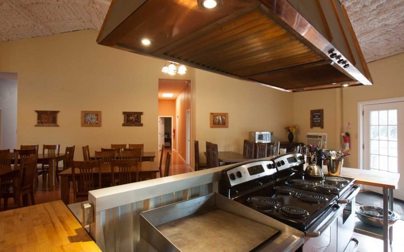Commercial Kitchen in lodge of Lotus ranch retreat center in Wimberley, Texas.