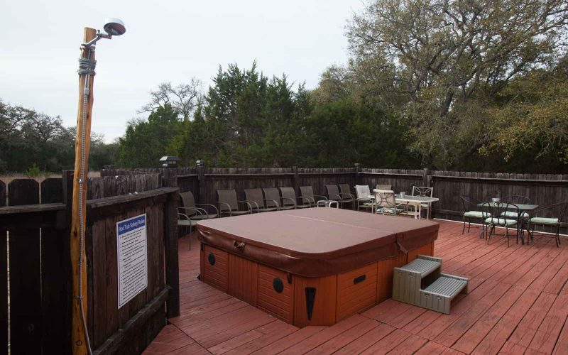 Hot Tub and deck at Lotus Ranch Retreat in The Texas Hill Country.